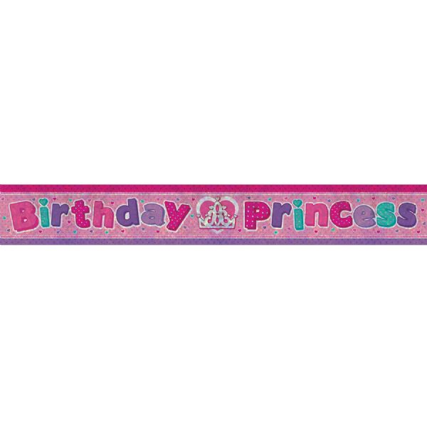 Holographic Birthday Princess Foil Banner
